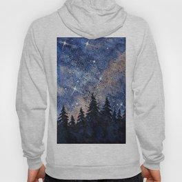 Pine trees and galaxies watercolor Hoody