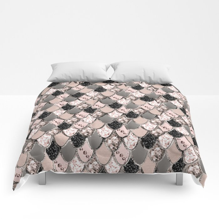 Rose Gold Blush Mermaid Princess Glitter Scales #1 #shiny #decor #art #society6 Comforters