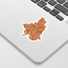 Delicate White Leaves and Branch on a Rust Orange Background Sticker