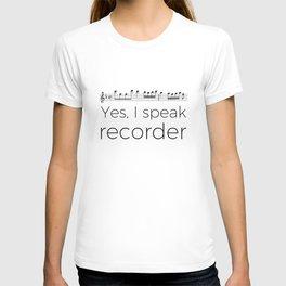 I speak recorder T-shirt