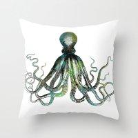 octopus Throw Pillows featuring Octopus by LebensART
