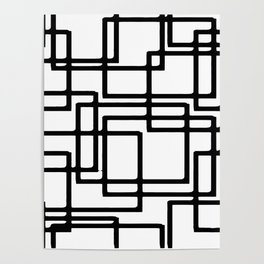 Interlocking Black Squares Artistic Design Poster