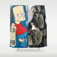 simpson Shower Curtains featuring Bart Simpson by Arran.Sahota