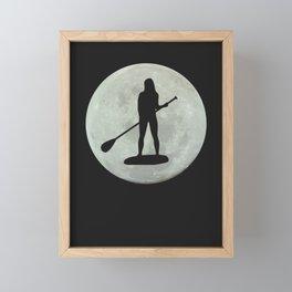 Moon PaddleBoarding Female Framed Mini Art Print