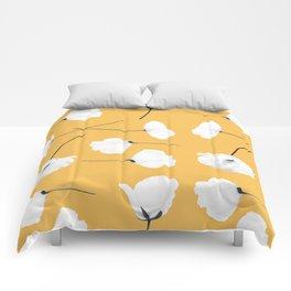 Poppies on mustard Comforters