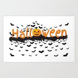 Halloween Time. Happy Halloween. Scary pumpkin with bats flying around Art Print