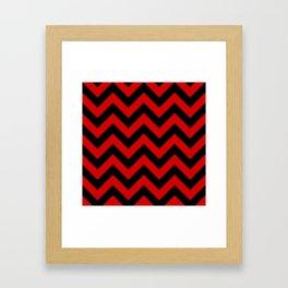 Black and Red Chevron Stripes Framed Art Print