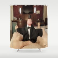 cunt Shower Curtains featuring funny painting slut BDSM fetish Big dick cock suck oral sex pussy cunt transgender anal fuck  by Velveteen Rodent