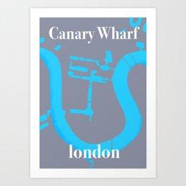 canary wharf, london map travel poster Art Print