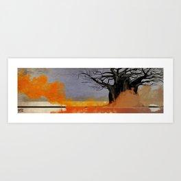 Black Tree Fire Art Print