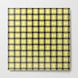 Khaki Yellow Weave Metal Print