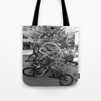 bikes Tote Bags featuring Bikes by DarkMikeRys