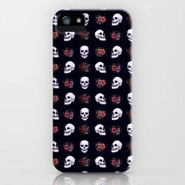 FLORAL SKULLS (BLACK) iPhone Case