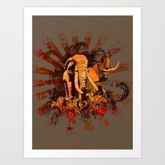 Elephant Safari Art Print