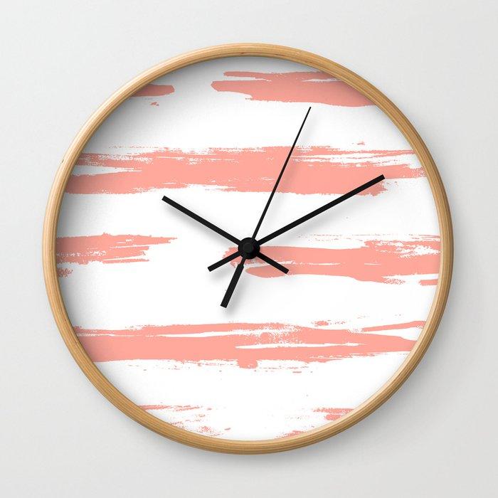 Pretty Pink Brush Stripes Horizontal Wall Clock