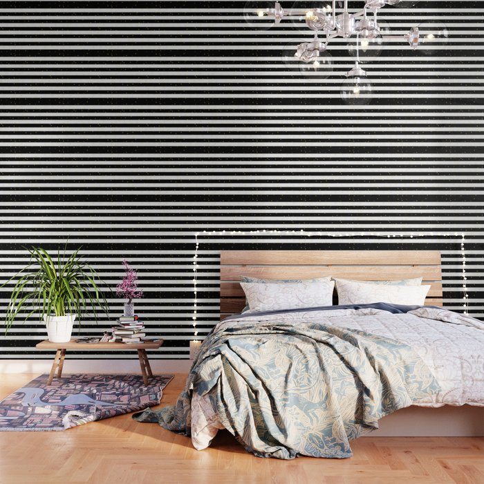 Black And White Stripes With Golden Dots Wallpaper By Semisweetbrand Society6