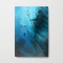 Scuba Diver meets Poseidon  Metal Print