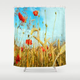 Lying in the cornfield, let your soul Shower Curtain