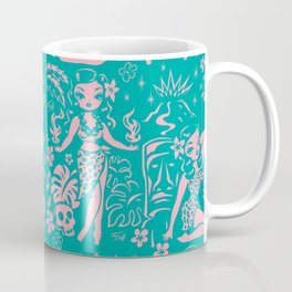 Tiki Temptress in Pink and Turquoise Coffee Mug