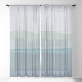 Calming Ocean Waves in Soft Dusty Pastels Sheer Curtain