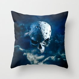 Reaper Moon Rising / 3D render of cratered skull moon in night sky Throw Pillow