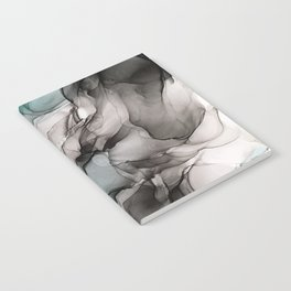 Smoky Grays and Green Abstract Flow Notebook