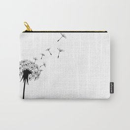 Black and White Dandelion Blowing in the Wind Carry-All Pouch