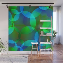 Abstract soap from space yellow and green bright circles and bubbles on a luminous background. Wall Mural
