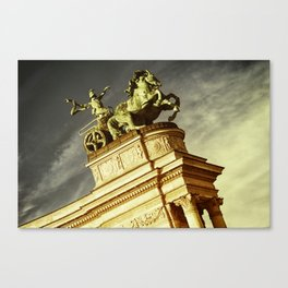 Statue of War on the Heroes Square in Budapest Canvas Print