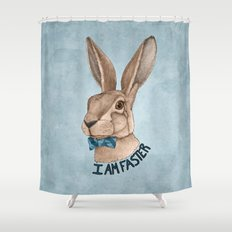 Mr Hare Is Faster Shower Curtain