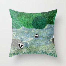 Badgers amongst the bluebells Throw Pillow