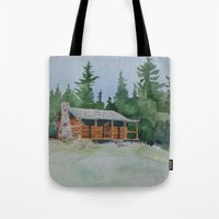 cabin pressure Tote Bags featuring Cabin by JeffAllenArtwork