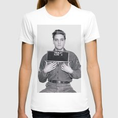 ELVIS PRESLEY - ARMY MUGSHOT Womens Fitted Tee White LARGE