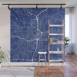 Atlanta Map, USA - Blue Wall Mural