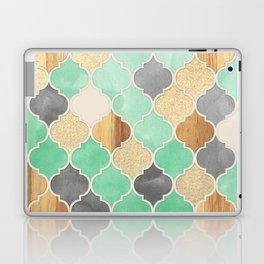 Charcoal, Mint, Wood & Gold Moroccan Pattern Laptop & iPad Skin