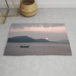 Abstract Sunset | Fishing Boat Island Pink Sky Rolling Hills Lake Water Landscape Photograph Rug