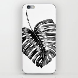 Monstera leaf black watercolor illustration iPhone Skin