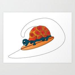 Cute Tortoise Surfing the Wave Art Print