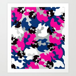 Pink and blue camouflage Art Print