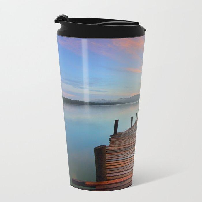 Pier on the Water at Sunset  Metal Travel Mug