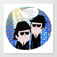 blues brothers Canvas Prints featuring The Blues Brothers by my panda suit by la Lena