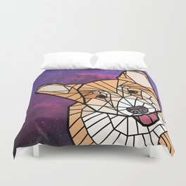 Space Dog - Mosaic Corgi Duvet Cover