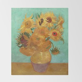Vincent Van Gogh Twelve Sunflowers In A Vase Throw Blanket