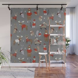 Christmas winter woodland animals foxes deer bunnies moose holiday cute design Wall Mural