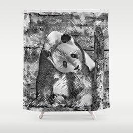 AnimalArtBW_Panda_20170703_by_JAMColorsSpecial Shower Curtain