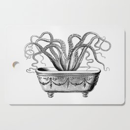 Tentacles in the Tub | Octopus | Black and White Cutting Board