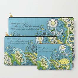 Hand Drawn Paisley Floral, Flower n Leaf Scroll Inspirational Text Carry-All Pouch