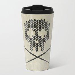 Knitted Skull - Black on Beige Travel Mug