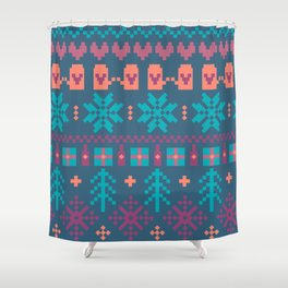Fair Isle Christmas Shower Curtain