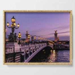 Sunset over Paris Bridge (Color) Serving Tray